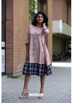 Baby Pink Designer Khadi Cotton Readymade Kurti