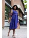 Royal Blue Designer Cotton Readymade Kurti