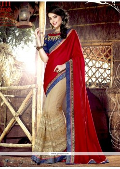 Piquant Cream And Red Zari Work Half N Half Saree