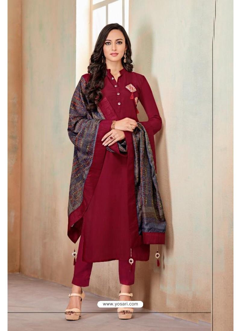 Maroon Designer Party Wear Heavy Jam Cotton Salwar Suit