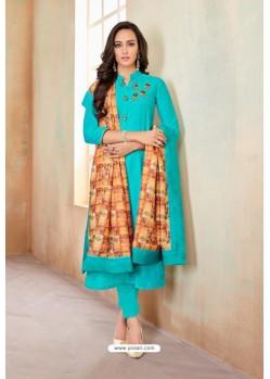 Turquoise Designer Party Wear Heavy Jam Cotton Salwar Suit