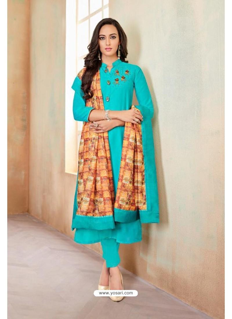 Buy Turquoise Designer Party Wear Heavy Jam Cotton Salwar Suit