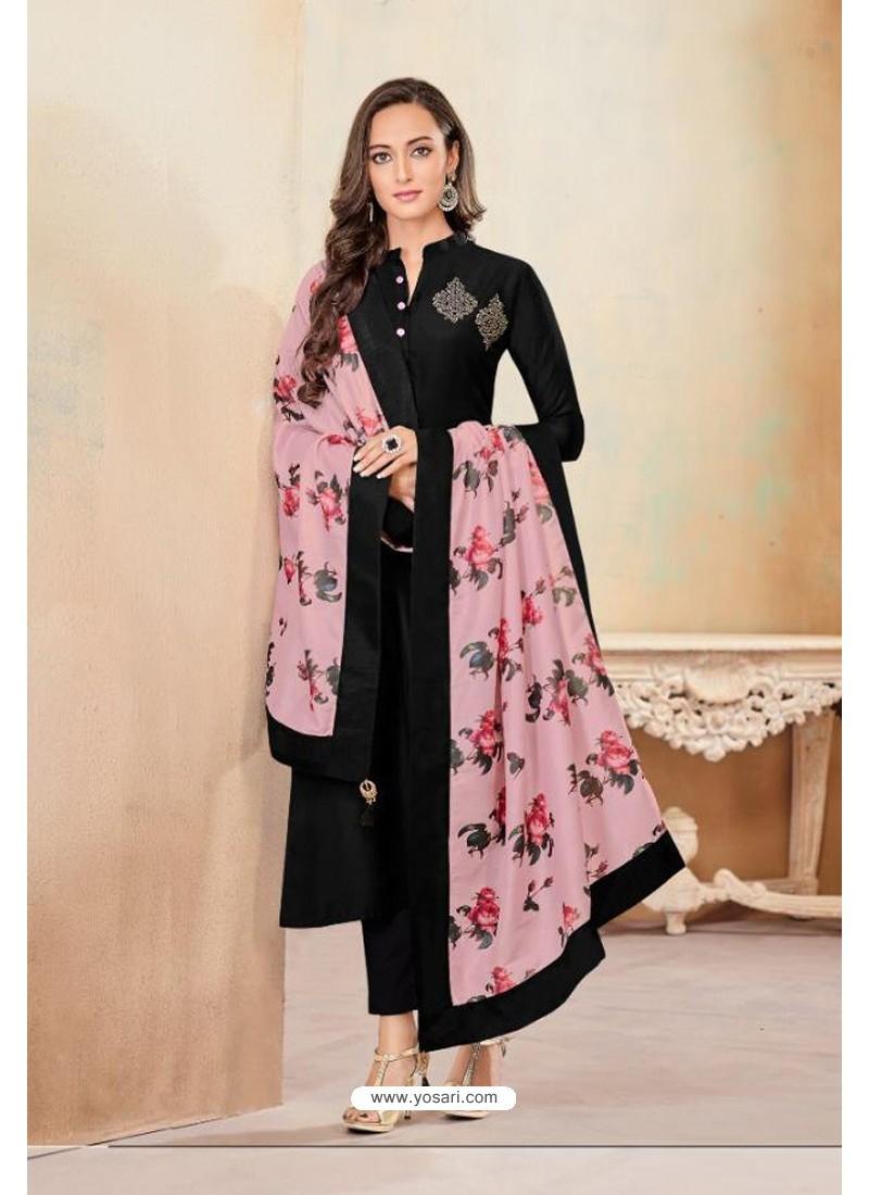 Black Designer Party Wear Heavy Jam Cotton Salwar Suit