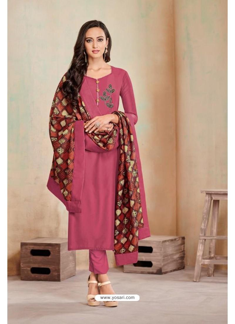 Old Rose Designer Party Wear Heavy Jam Cotton Salwar Suit