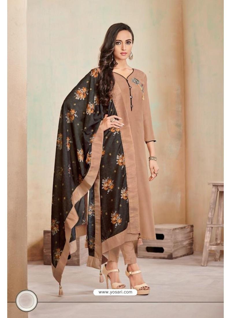 Camel Designer Party Wear Heavy Jam Cotton Salwar Suit