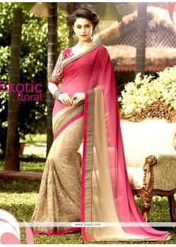 Best Net Cream And Pink Designer Half N Half Saree