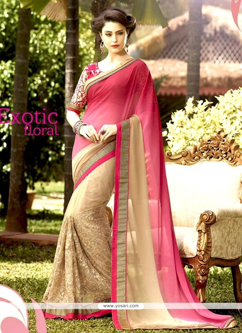 Best Net Cream And Pink Designer Half N Half Saree