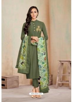 Mehendi Designer Party Wear Heavy Jam Cotton Salwar Suit