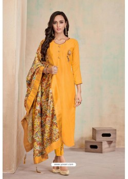 Mustard Designer Party Wear Heavy Jam Cotton Salwar Suit
