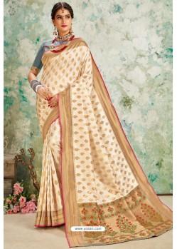 Light Beige Designer Classic Wear Upada Silk Sari