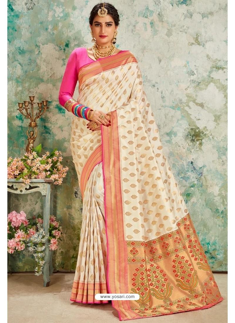Off White Designer Classic Wear Upada Silk Sari