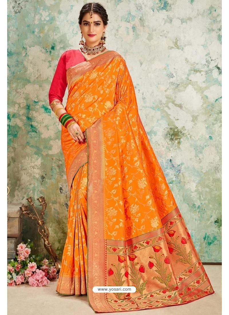 Orange Designer Classic Wear Upada Silk Sari