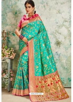 Aqua Mint Designer Classic Wear Upada Silk Sari