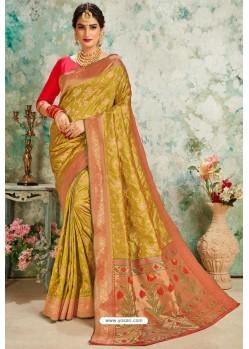 Marigold Designer Classic Wear Upada Silk Sari