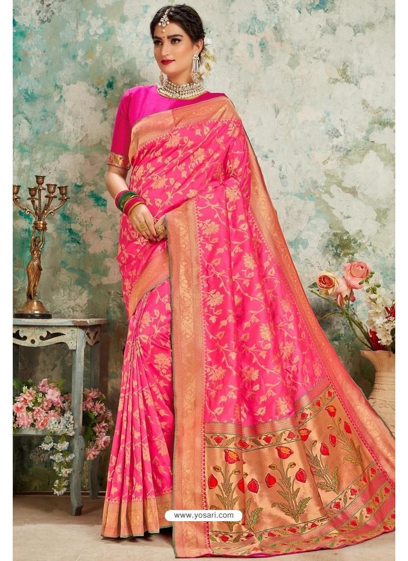 Fuchsia Designer Classic Wear Upada Silk Sari