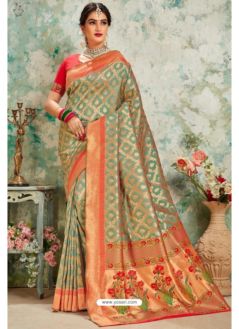 Taupe Designer Classic Wear Upada Silk Sari