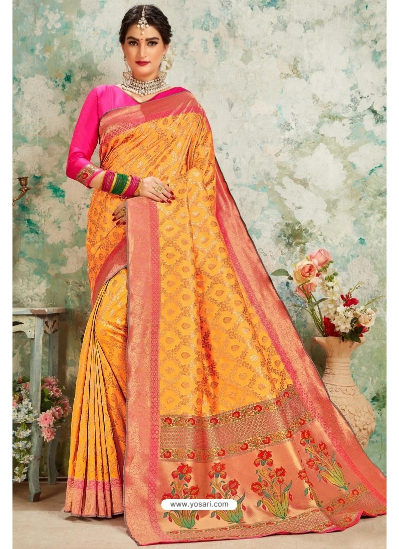 Mustard Designer Classic Wear Upada Silk Sari