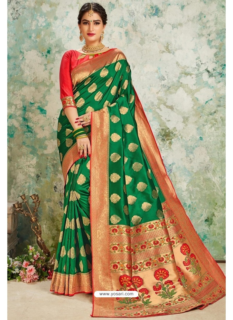 Forest Green Designer Classic Wear Upada Silk Sari