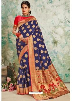 Royal Blue Designer Classic Wear Upada Silk Sari