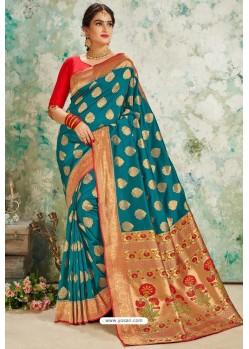 Teal Designer Classic Wear Upada Silk Sari