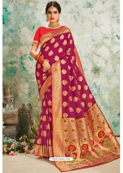 Rose Red Designer Classic Wear Upada Silk Sari