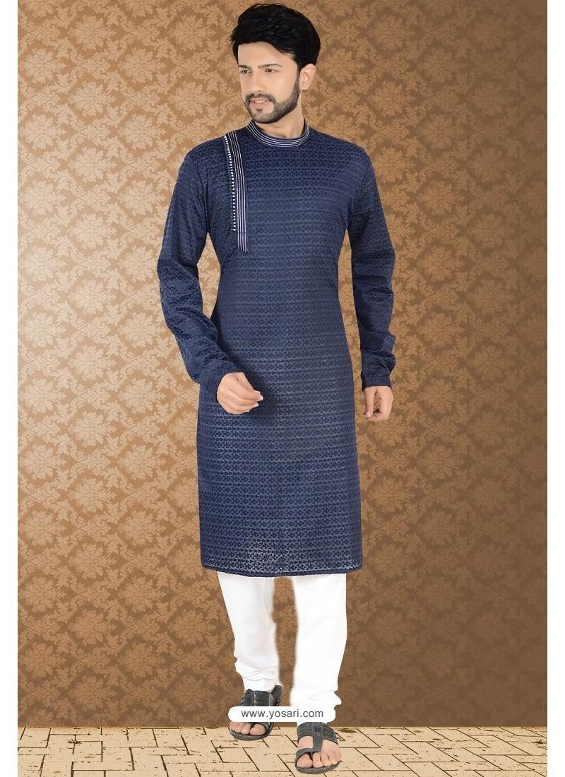 Navy Blue Readymade Cotton Polly Kurta Pajama For Men