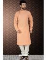 Light Orange Readymade Cotton Polly Kurta Pajama For Men