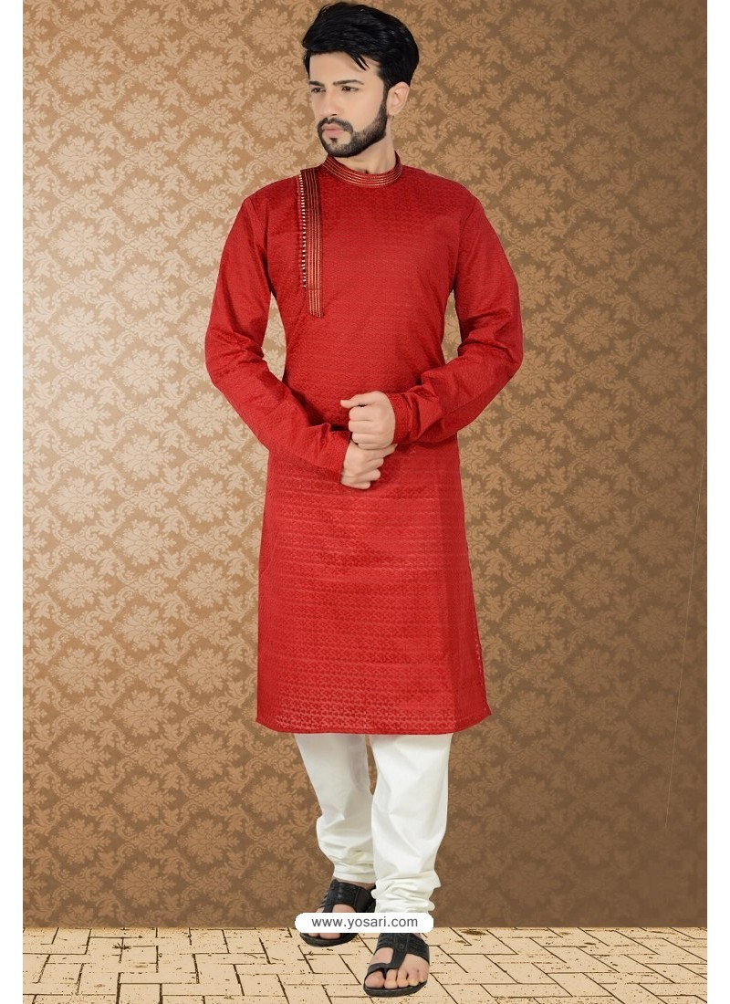 Red Readymade Cotton Polly Kurta Pajama For Men