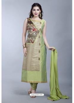 Green Embroidered Designer Party Wear Churidar Salwar Suit