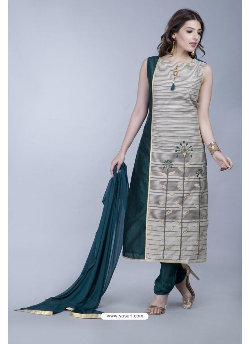 Grey Embroidered Designer Readymade Party Wear Churidar Salwar Suit
