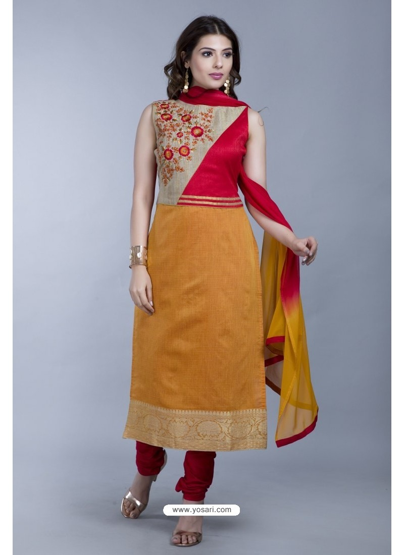 Mustard Embroidered Designer Readymade Party Wear Churidar Salwar Suit