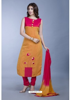 Orange Embroidered Designer Readymade Party Wear Churidar Salwar Suit