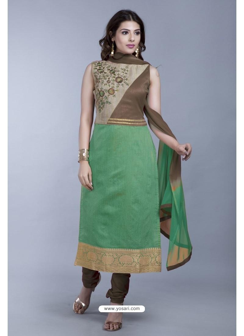 Sea Green Embroidered Designer Readymade Party Wear Churidar Salwar Suit