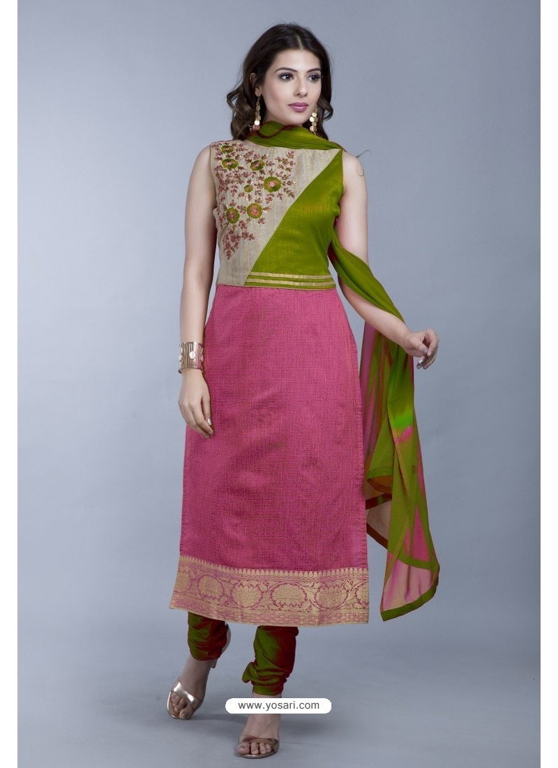 Light Pink Embroidered Designer Readymade Party Wear Churidar Salwar Suit