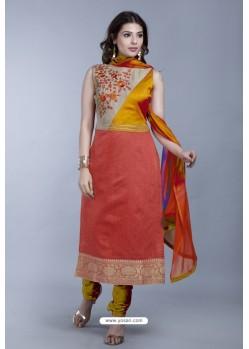 Rust Embroidered Designer Readymade Party Wear Churidar Salwar Suit