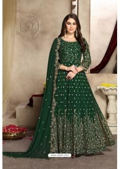 Dark Green Latest Georgette Embroidered Designer Anarkali Suit