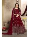 Maroon Latest Georgette Embroidered Designer Anarkali Suit