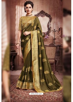 Mehendi Designer Party Wear Soft Art Silk Sari