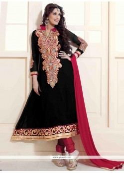 Sonali Bendre Black Georgette Anarkali Suit
