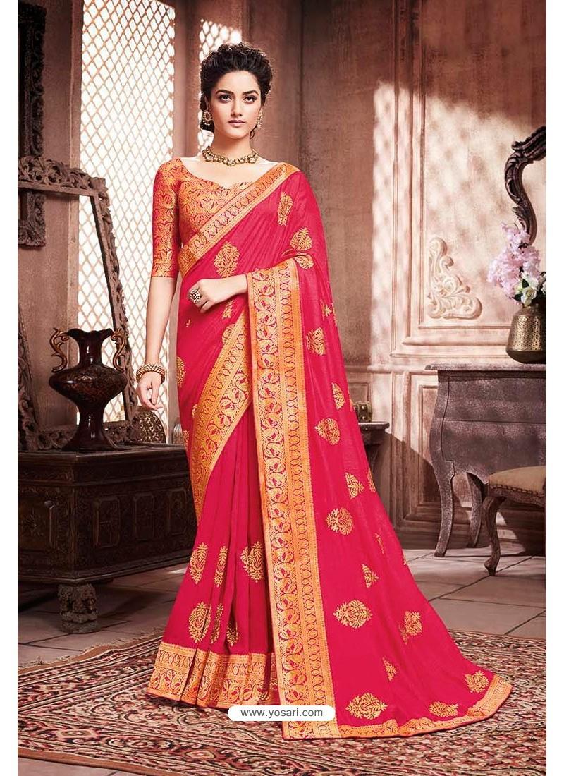 Dark Peach Designer Party Wear Soft Art Silk Sari