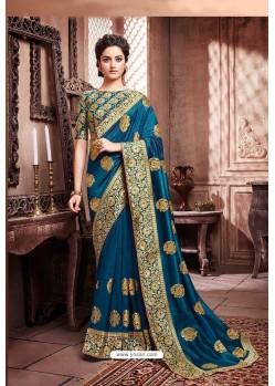 Teal Blue Designer Party Wear Soft Art Silk Sari
