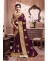 Deep Wine Designer Party Wear Soft Art Silk Sari