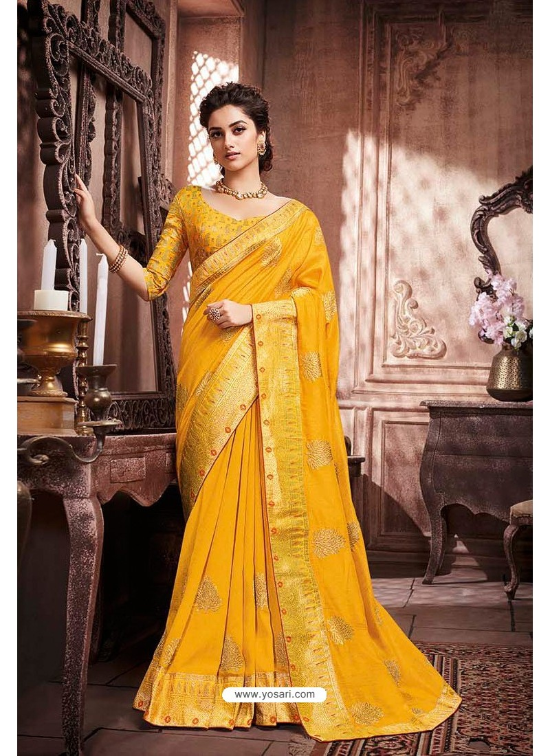 Yellow Designer Party Wear Soft Art Silk Sari