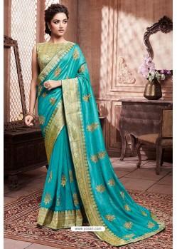 Turquoise Designer Party Wear Soft Art Silk Sari