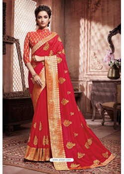 Crimson Designer Party Wear Soft Art Silk Sari