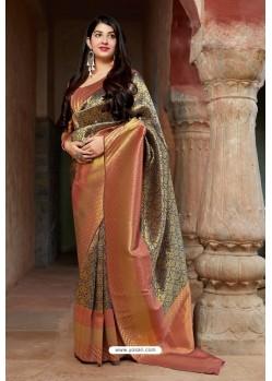 Rust Embroidered Designer Banarasi Silk Party Wear Sari