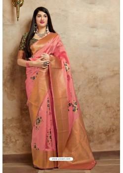 Pink Embroidered Designer Banarasi Silk Party Wear Sari