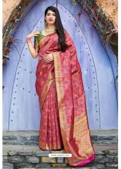 Rani Embroidered Designer Banarasi Silk Party Wear Sari
