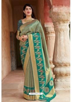 Olive Green Embroidered Designer Banarasi Silk Party Wear Sari