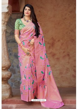 Light Pink Embroidered Designer Banarasi Silk Party Wear Sari